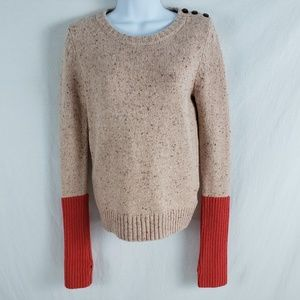 Fossil Sweater Scoop Neck Thumb Loops Marled Peach
